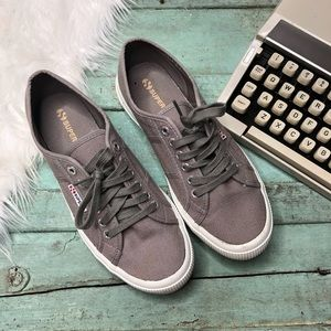 Superga Sneakers Canvas Women's Size 9 Gray Laces